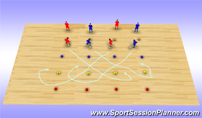 Futsal Session Plan Drill (Colour): Grid Dribble