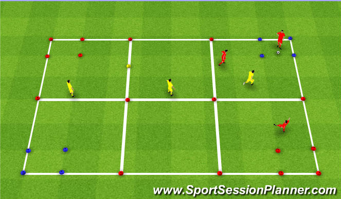 Football/Soccer Session Plan Drill (Colour): Progression 2 - Opposed