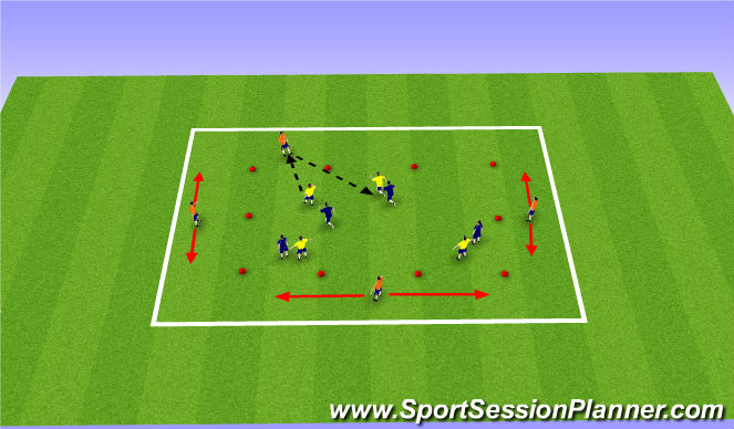 Football/Soccer Session Plan Drill (Colour): 4v4+4 passing game