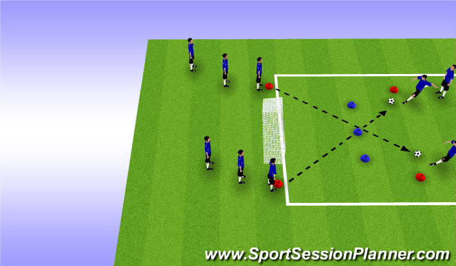 Football/Soccer Session Plan Drill (Colour): Diagonal shooting lines