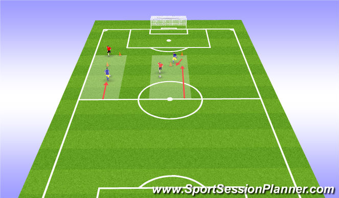 Football/Soccer Session Plan Drill (Colour): Dribble/Chase