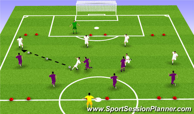 Football/Soccer Session Plan Drill (Colour): Phase IV