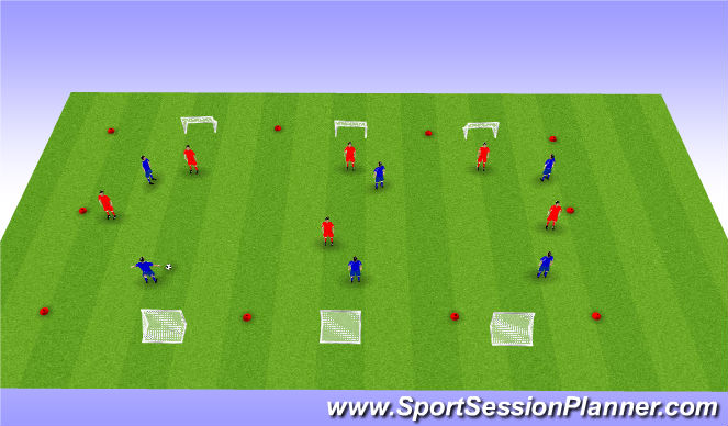 Football/Soccer Session Plan Drill (Colour): Play to 6 Goals