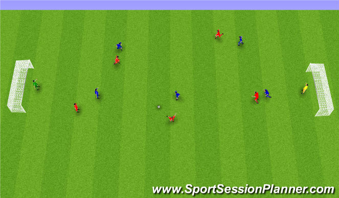 Football/Soccer Session Plan Drill (Colour): Spilað á battavöllum.