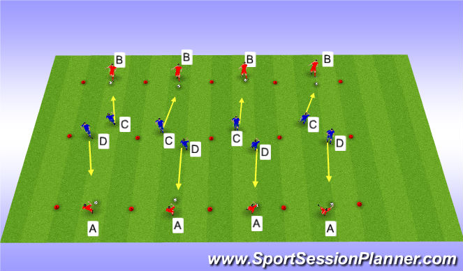 Football/Soccer Session Plan Drill (Colour): Movement and Passing