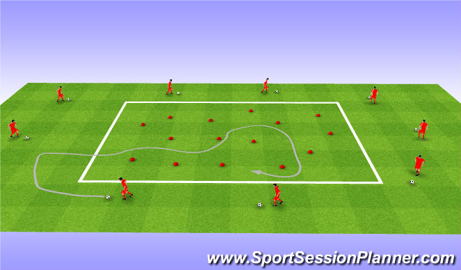 Football/Soccer Session Plan Drill (Colour): Technical warm up. Rozgrzewka techniczna.