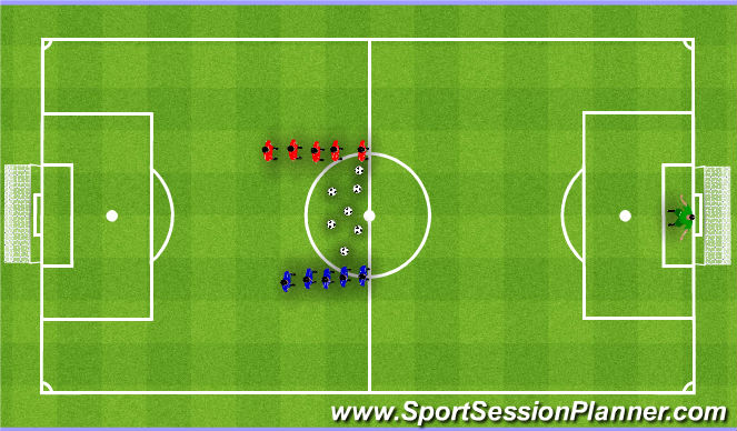 Football/Soccer Session Plan Drill (Colour): Overloads. Gra w przewadze.
