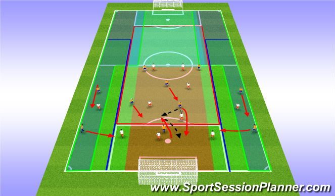 Football/Soccer Session Plan Drill (Colour): 4:3:3 in Attack