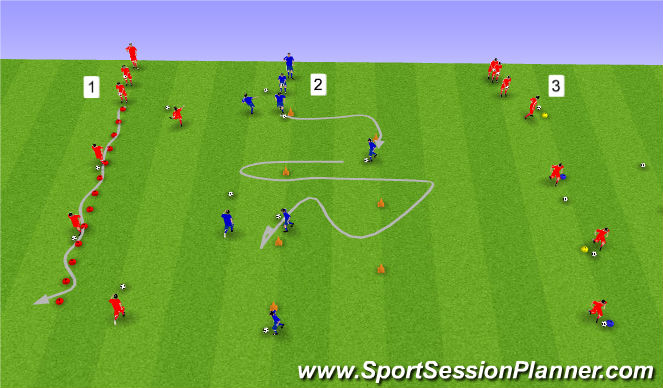 Football/Soccer Session Plan Drill (Colour): Upphitun A) Knattrak