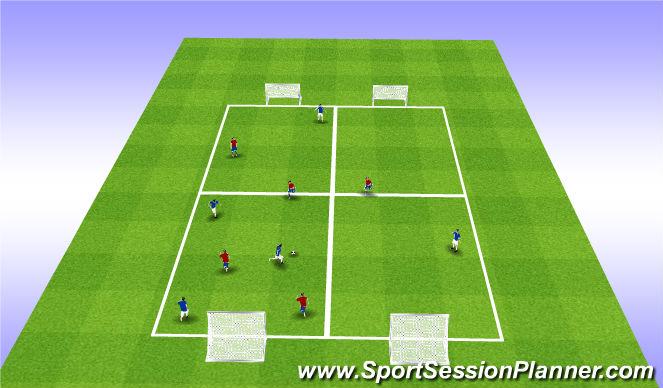 Football/Soccer Session Plan Drill (Colour): U12 - U13 SSG: Ball Retention