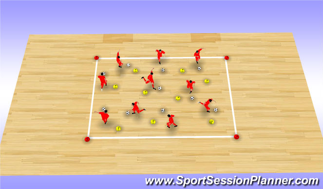 Futsal Session Plan Drill (Colour): Dribble Warm-Up