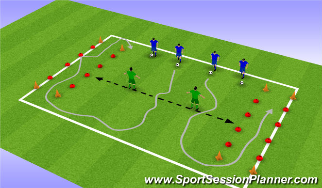 Football/Soccer Session Plan Drill (Colour): Dribbel met weerstand