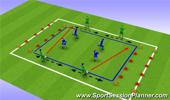 Football/Soccer Session Plan Drill (Colour): Jongens tegen de papa's