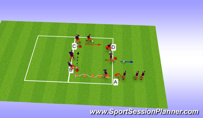 Football/Soccer Session Plan Drill (Colour): Conducción, control, golpeo