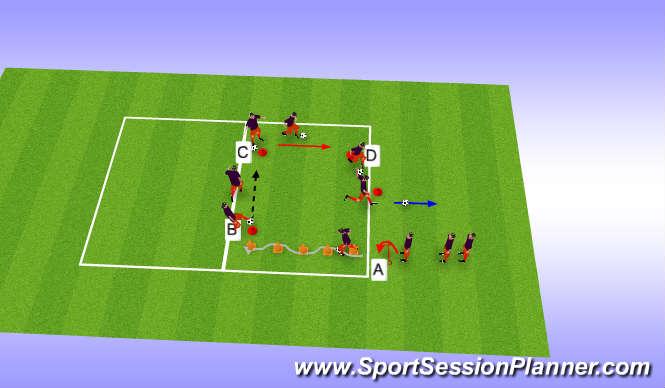Football/Soccer Session Plan Drill (Colour): Conducción, control, golpeo