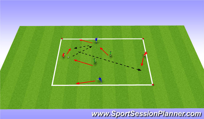 Football/Soccer Session Plan Drill (Colour): Short suport and depth suport 1