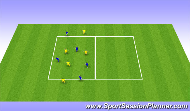 Football/Soccer Session Plan Drill (Colour): Short suport and depth suport 2
