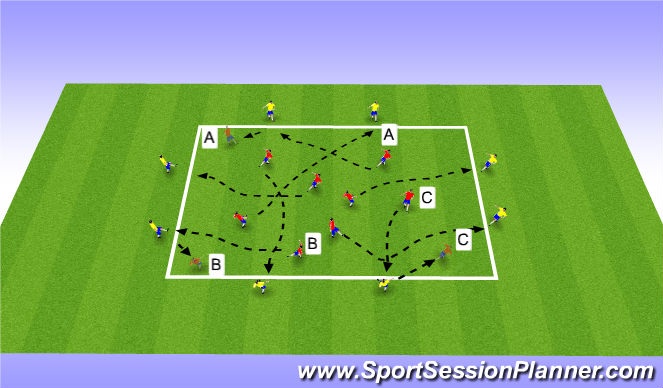 Football/Soccer Session Plan Drill (Colour): one two Passing with Movement