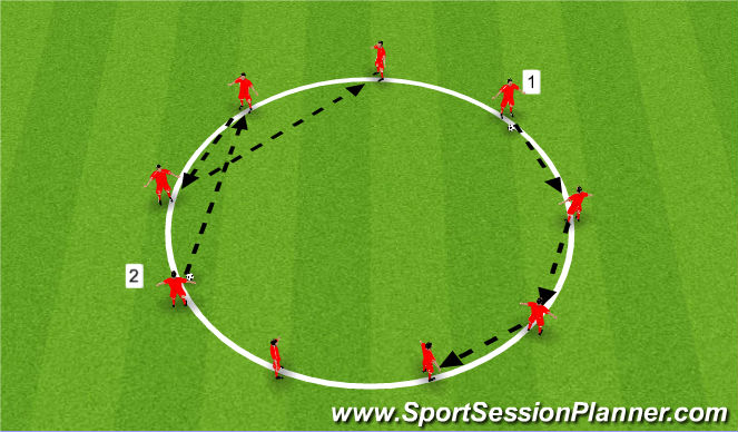 Football/Soccer Session Plan Drill (Colour): Pass & Receive (warm up)