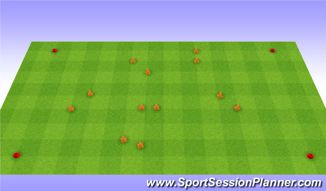 Football/Soccer Session Plan Drill (Colour): 6 goal game. Gra na 6 bramek.