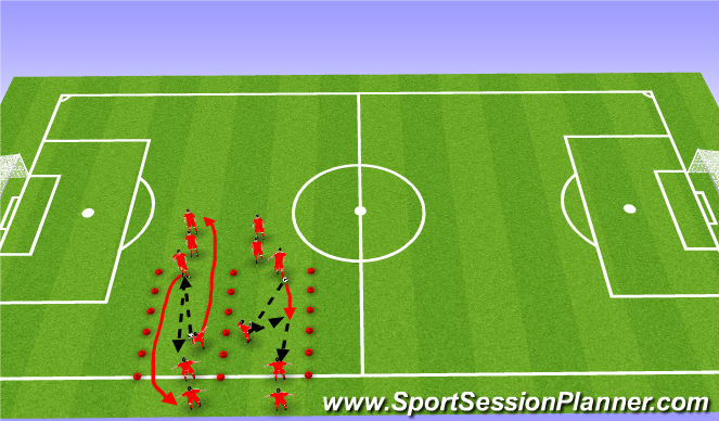 Football/Soccer Session Plan Drill (Colour): Touches (5-10 mins)
