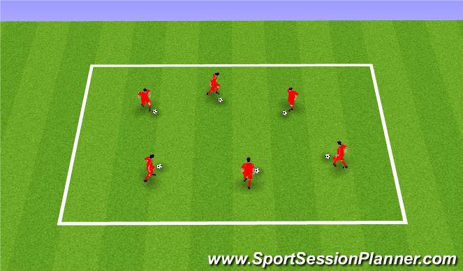 Football/Soccer Session Plan Drill (Colour): Dribbling warm up and technique. Rozgrzewka i technika.