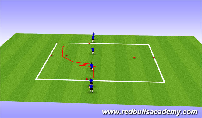 Football/Soccer Session Plan Drill (Colour): Change of speed and direction