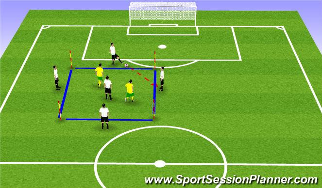 Football/Soccer Session Plan Drill (Colour): 4v2+1 Possession Game