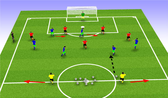Football/Soccer Session Plan Drill (Colour): 6 v 6 plus 2 15-20 Minutes