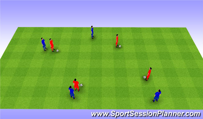 Football/Soccer Session Plan Drill (Colour): 1v1 tag and keeping possession. 1v1 ganianego i na utrzymanie.