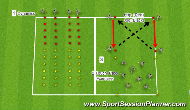 Football/Soccer Session Plan Drill (Colour): Warm up - Dynamics and Single leg efficiency