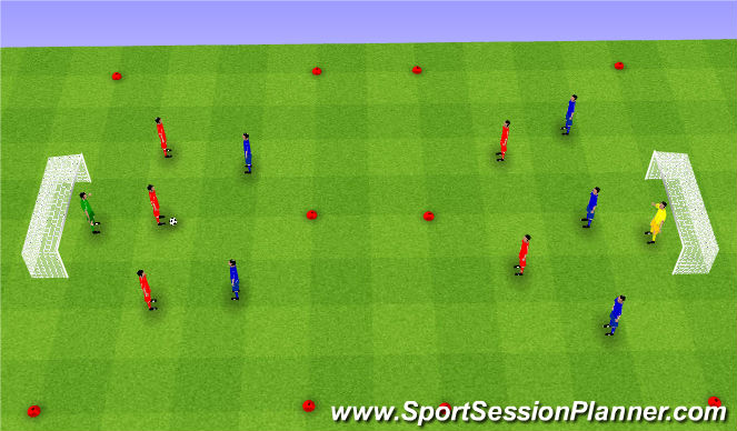 Football/Soccer Session Plan Drill (Colour): 3v2+1 (35')
