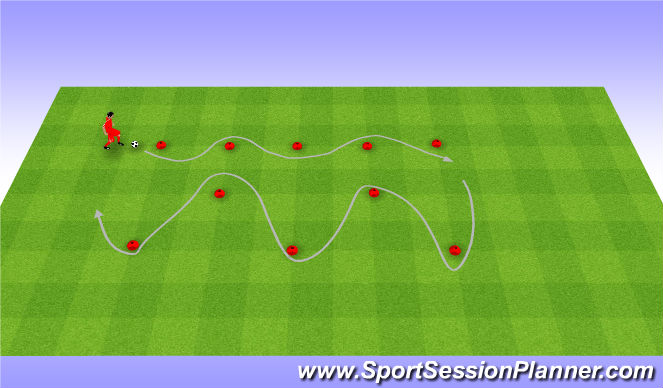 Football/Soccer Session Plan Drill (Colour): Rozgrzewka. Warm up (10')