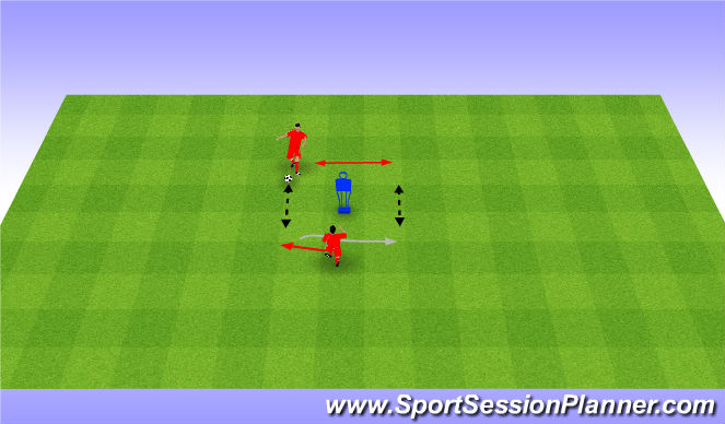 Football/Soccer Session Plan Drill (Colour): Quick feet and passing. Szybkie przyjÄ™cie i podanie (20')