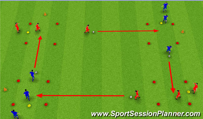 Football/Soccer Session Plan Drill (Colour): Technical with Pressure