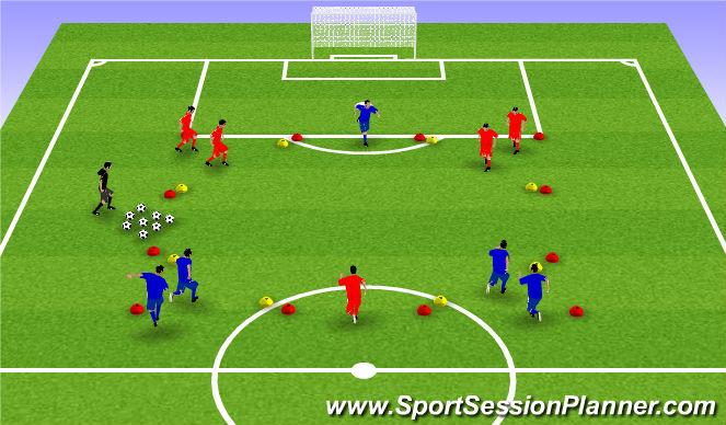 Football/Soccer Session Plan Drill (Colour): 3 v 2 - Gates