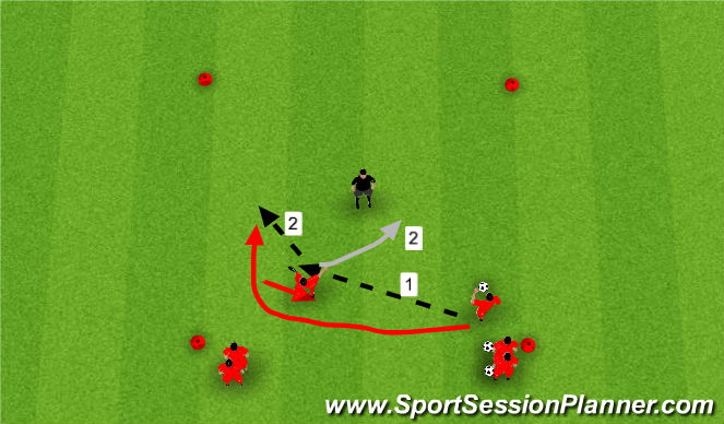 Football/Soccer Session Plan Drill (Colour): Passing and Movement 2 v 1