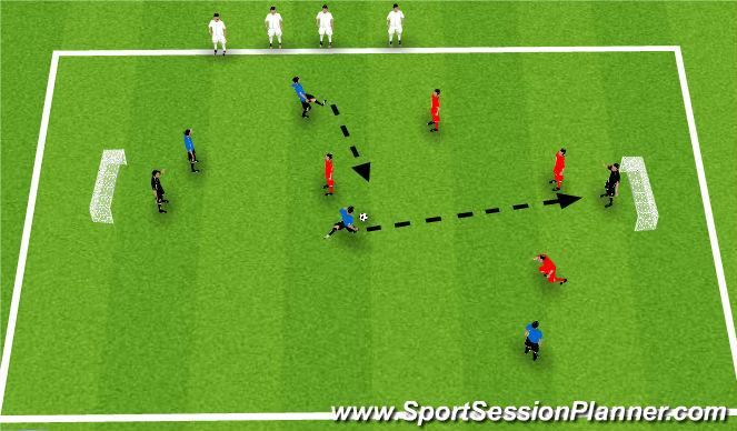 Football/Soccer Session Plan Drill (Colour): 4 v 4 King's Court