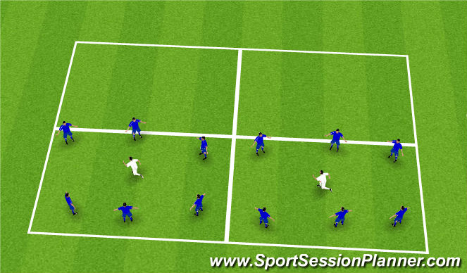 Football/Soccer Session Plan Drill (Colour): Rondo into next grid