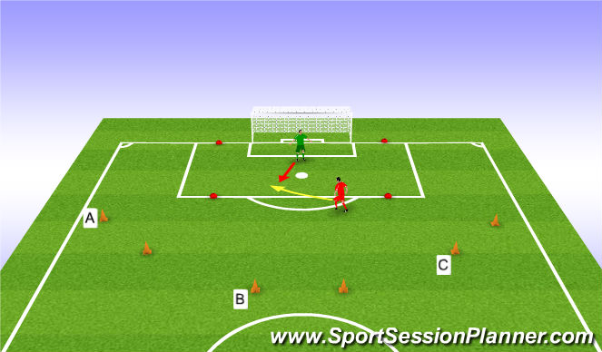 Football/Soccer Session Plan Drill (Colour): 1v1 in Box
