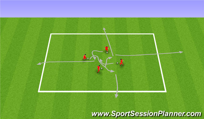 Football/Soccer Session Plan Drill (Colour): Warm up. Rozgrzewka (20').