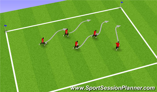 Football/Soccer Session Plan Drill (Colour): Team Reaction Dribbling