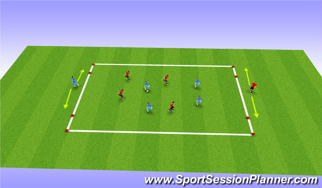 Football/Soccer Session Plan Drill (Colour): 4v4 + Target Players with 2 Goals