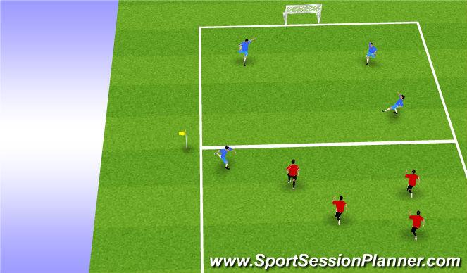 Football/Soccer Session Plan Drill (Colour): 4v4 or 6v6