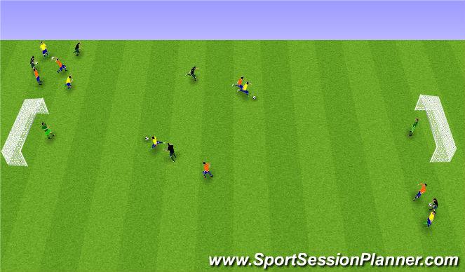 Football/Soccer Session Plan Drill (Colour): 1 á 1 + 1