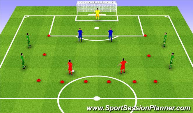 Football/Soccer Session Plan Drill (Colour): 2v2+4 with shot. 2v2+4 ze strzałem.