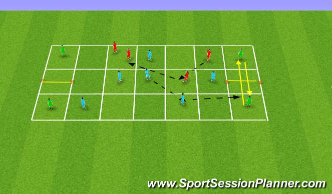 Football/Soccer Session Plan Drill (Colour): (YDP) Spreading out to maintain & exploit space
