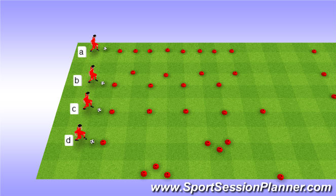 Football/Soccer Session Plan Drill (Colour): Dribbling cirquit warm up. Rozgrzewka stacje z piłką.