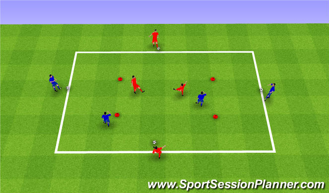 Football/Soccer Session Plan Drill (Colour): Possession game 2v2 with feeders