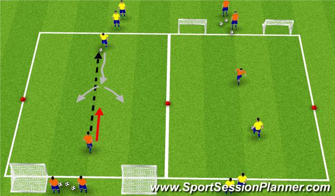Football/Soccer Session Plan Drill (Colour): Einn á einn.